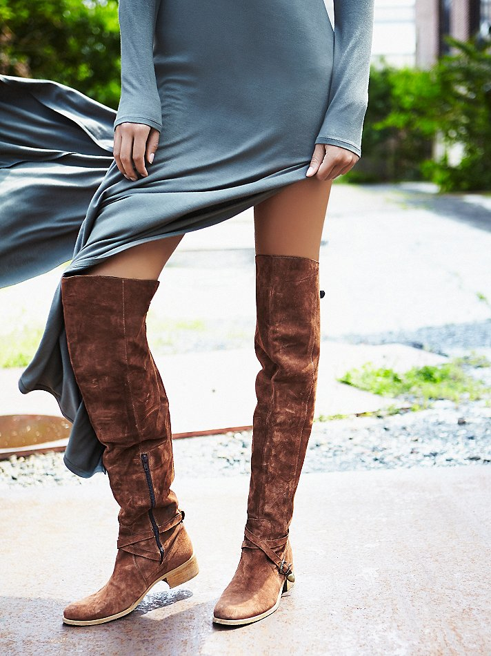 Free people Amorosa Suede Over The Knee Boot in Brown | Lyst