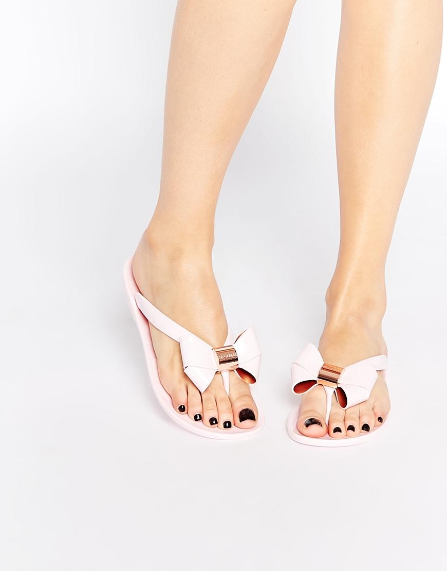 2e0a358db Ted Baker Ettiea Pink Oversized Bow Flip Flops in Pink - Lyst