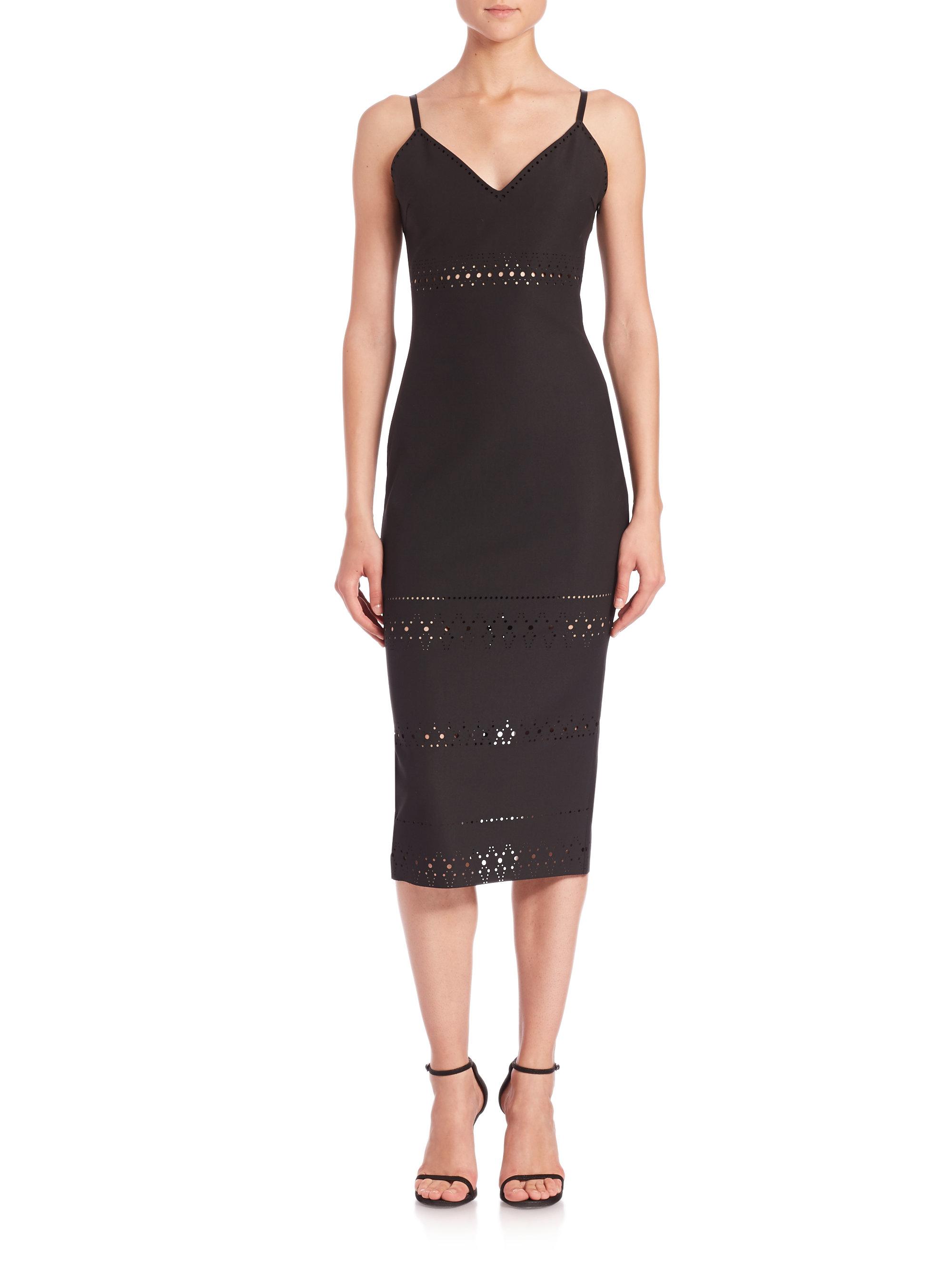 lyst elizabeth and james maria laser cut sheath dress in black. Black Bedroom Furniture Sets. Home Design Ideas