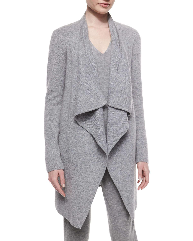 donna karan drape front cashmere blend coat in gray lyst. Black Bedroom Furniture Sets. Home Design Ideas