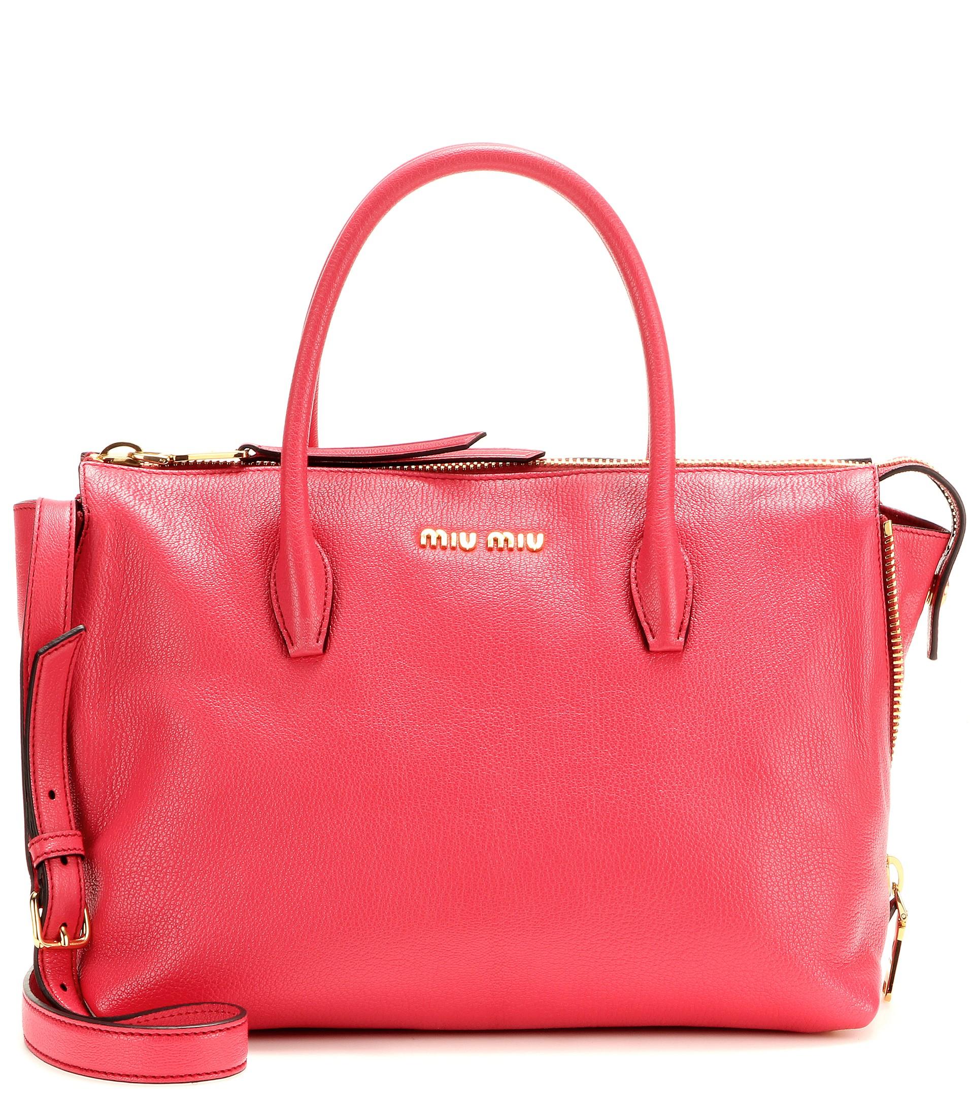 a07853846d26 miu miu outlet hong kong - Miu miu Leather Tote in Pink (Fragola)