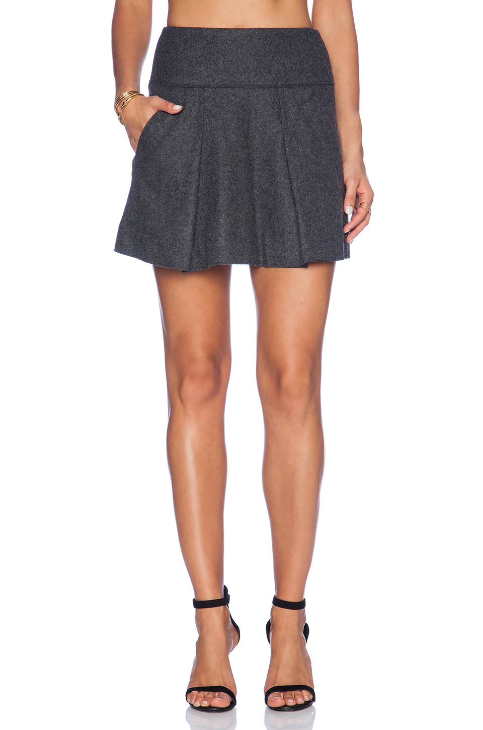 vince pleated skirt in gray lyst