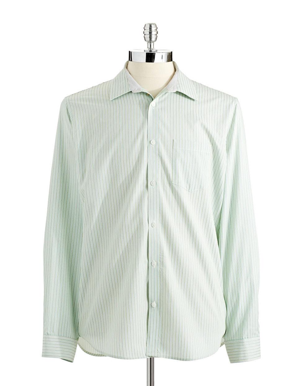 Calvin klein striped button down shirt in blue for men lyst for Striped button down shirts for men