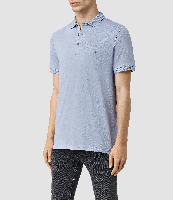 Allsaints Alter Polo Shirt In Blue For Men Lyst
