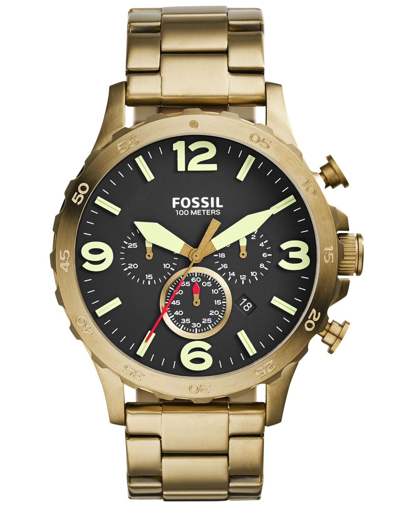 fossil men s chronograph nate gold tone stainless steel bracelet gallery