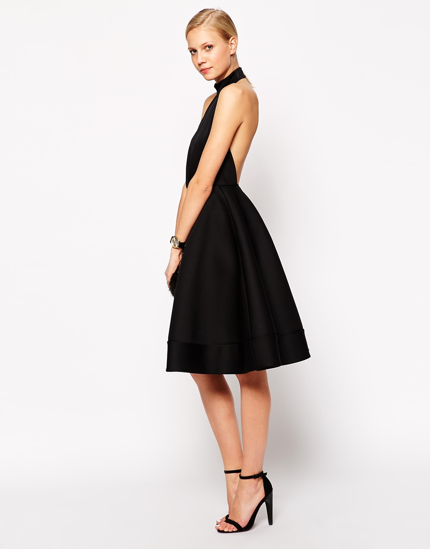 3f69e9f0a2313 ASOS Halter Neck Full Midi Dress With Plunge in Black - Lyst
