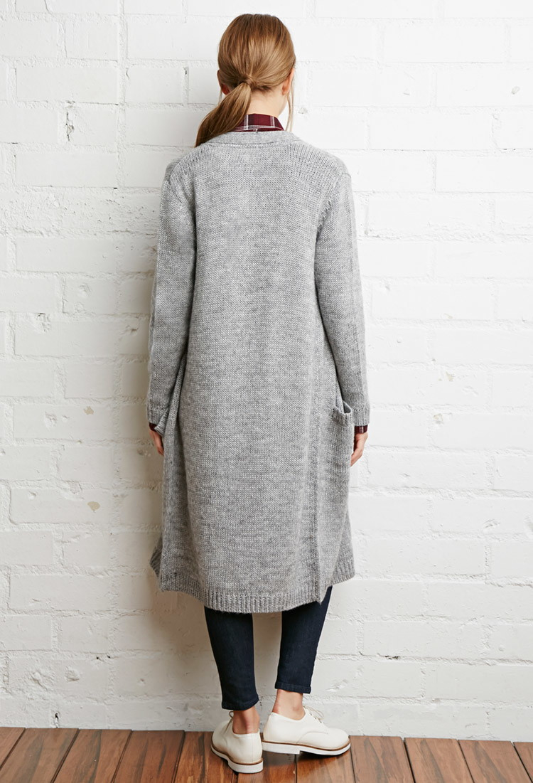 Forever 21 Longline Pocket Cardigan in Gray | Lyst