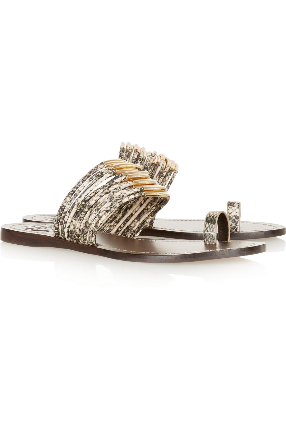 be9080cdbc4f Lyst - Tory Burch Mignon Embellished Snake-Effect Leather Sandals in ...