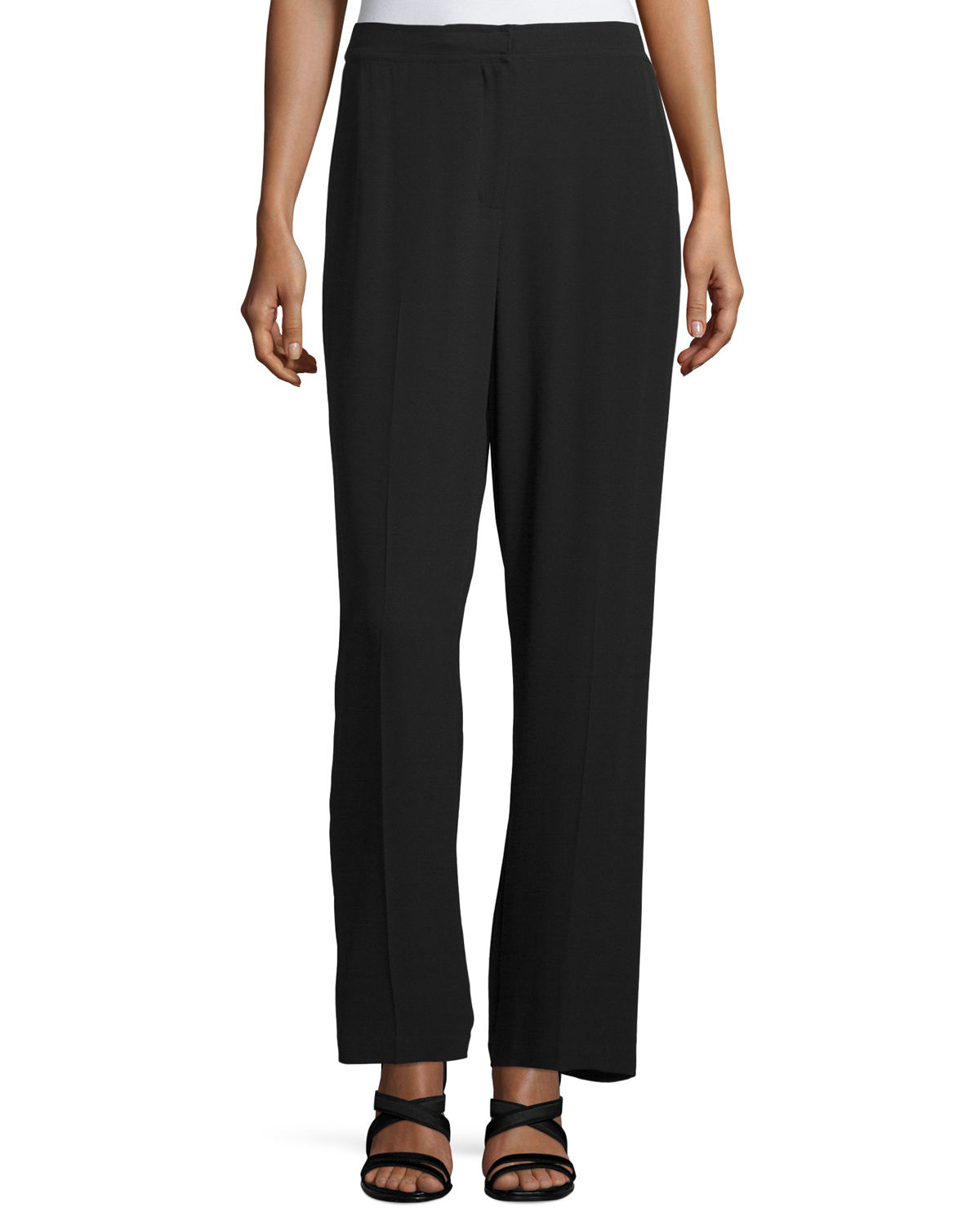Eileen fisher Silk Georgette Straight-leg Pants in Black ...