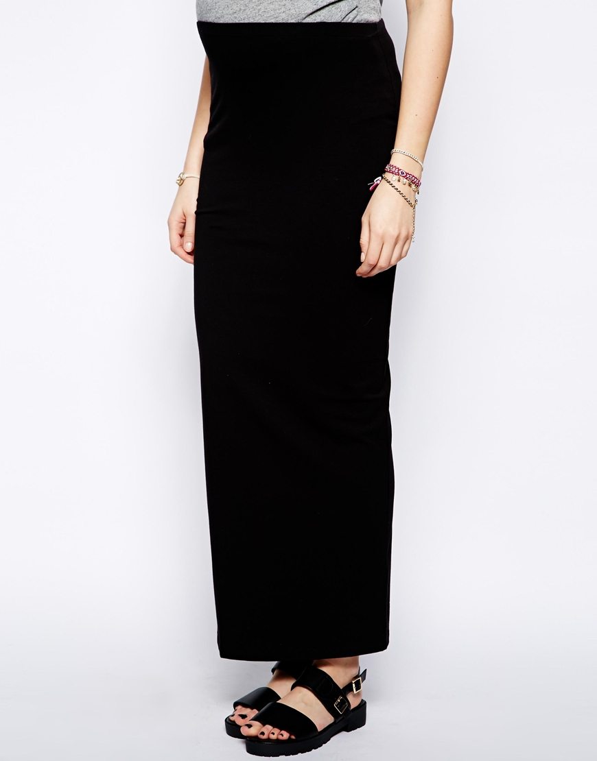 Asos Tube Maxi Skirt in Black | Lyst