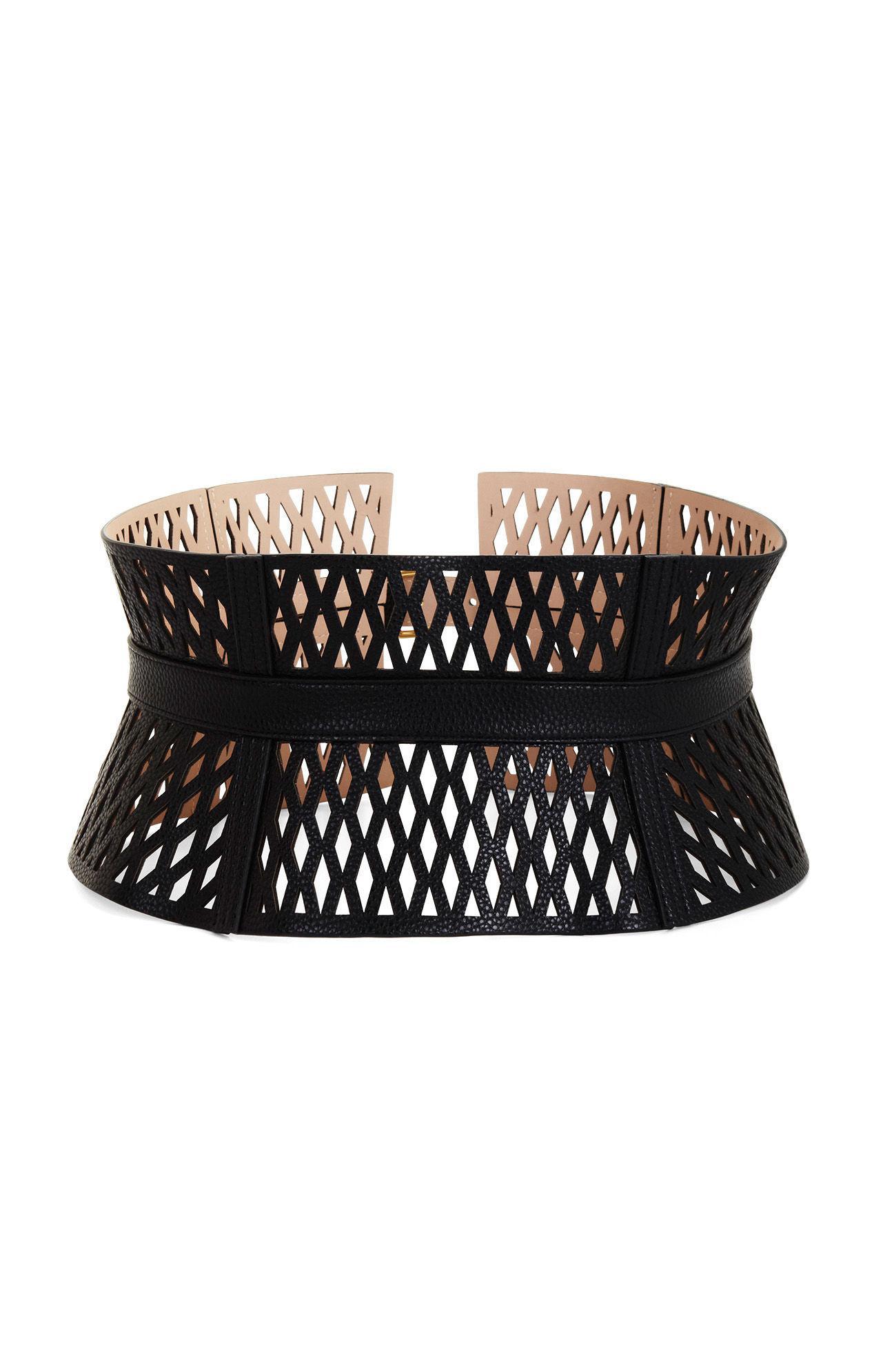 b4fdbd97a1 Lyst - BCBGMAXAZRIA Cutout Faux-leather Corset Waist Belt in Black