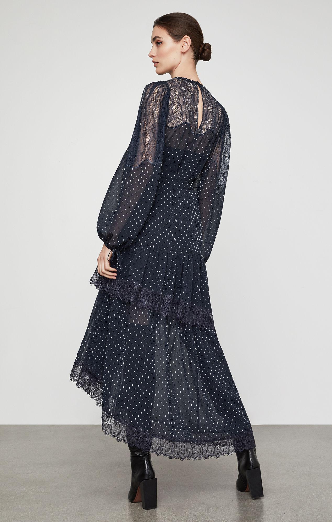 d184d3c666f BCBGMAXAZRIA - Blue Bcbg Asymmetric Lace Inset Maxi Dress - Lyst. View  fullscreen