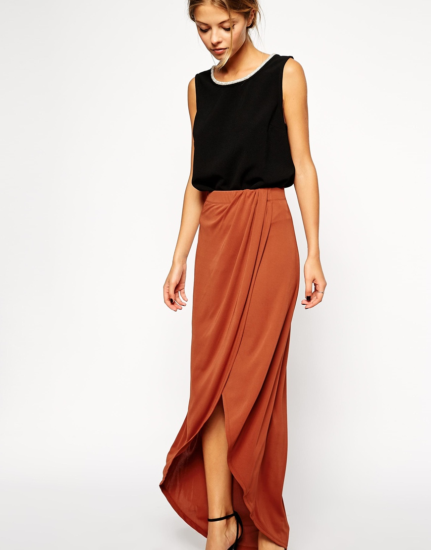 Asos wrap maxi skirt in crepe in brown lyst for Robe maxi mariage asos