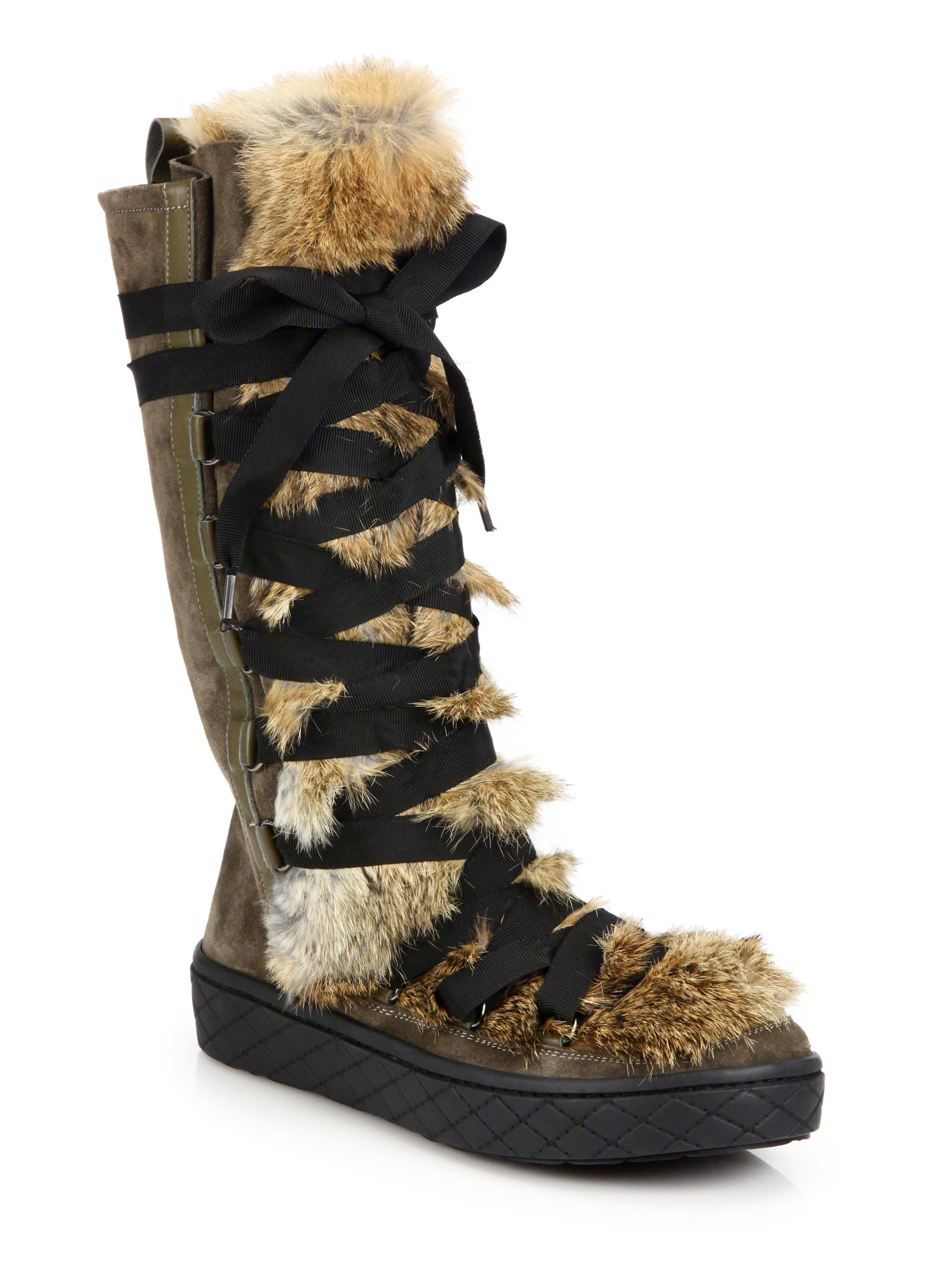 moncler zoelie rabbit fur leather and suede boots in