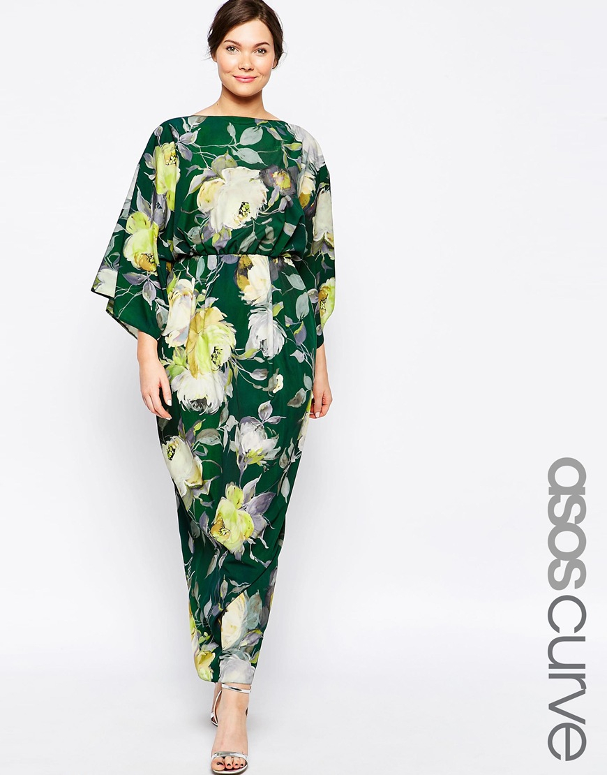 lyst asos maxi dress in 70 39 s floral in green. Black Bedroom Furniture Sets. Home Design Ideas