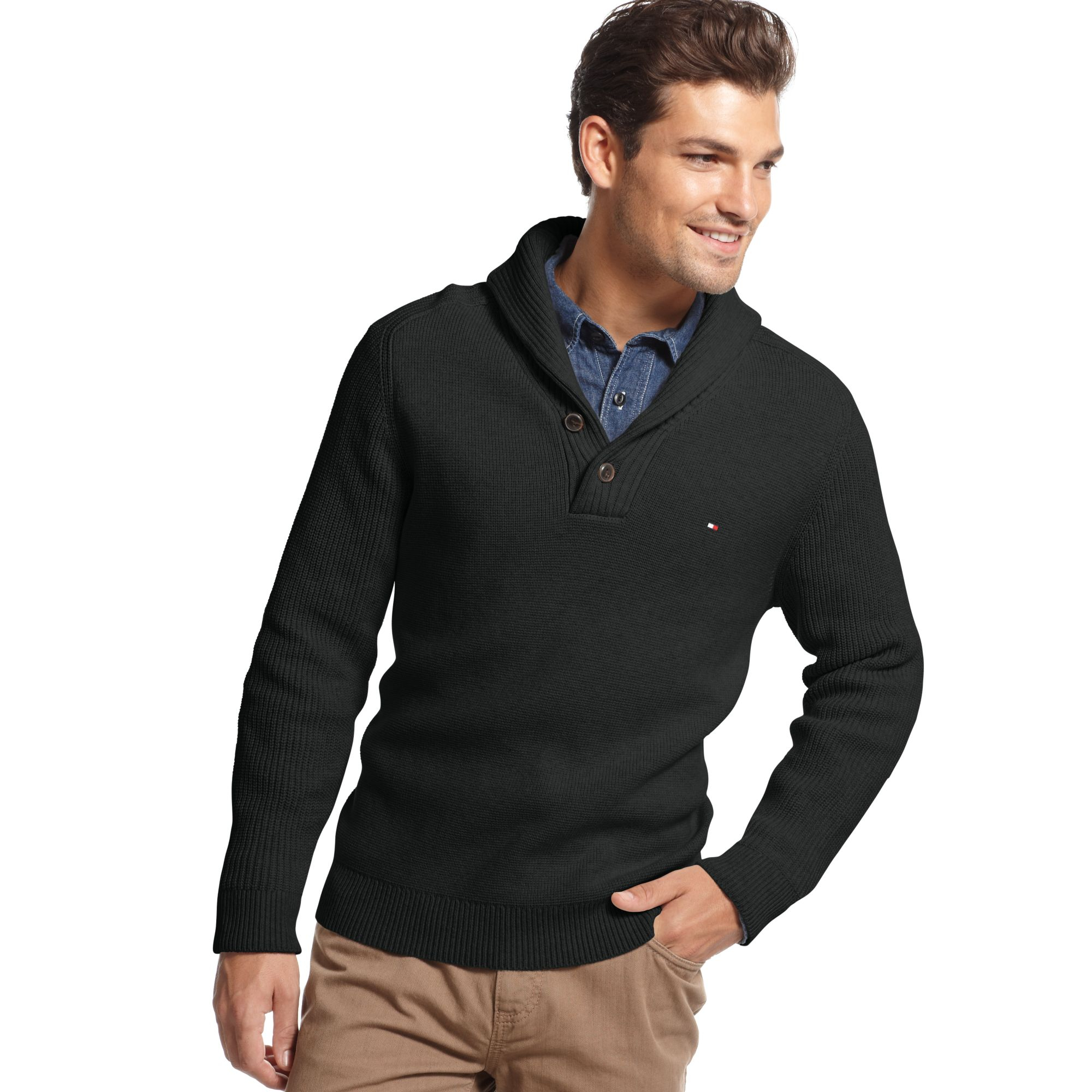 tommy hilfiger adler shawl collar sweater in black for men lyst. Black Bedroom Furniture Sets. Home Design Ideas