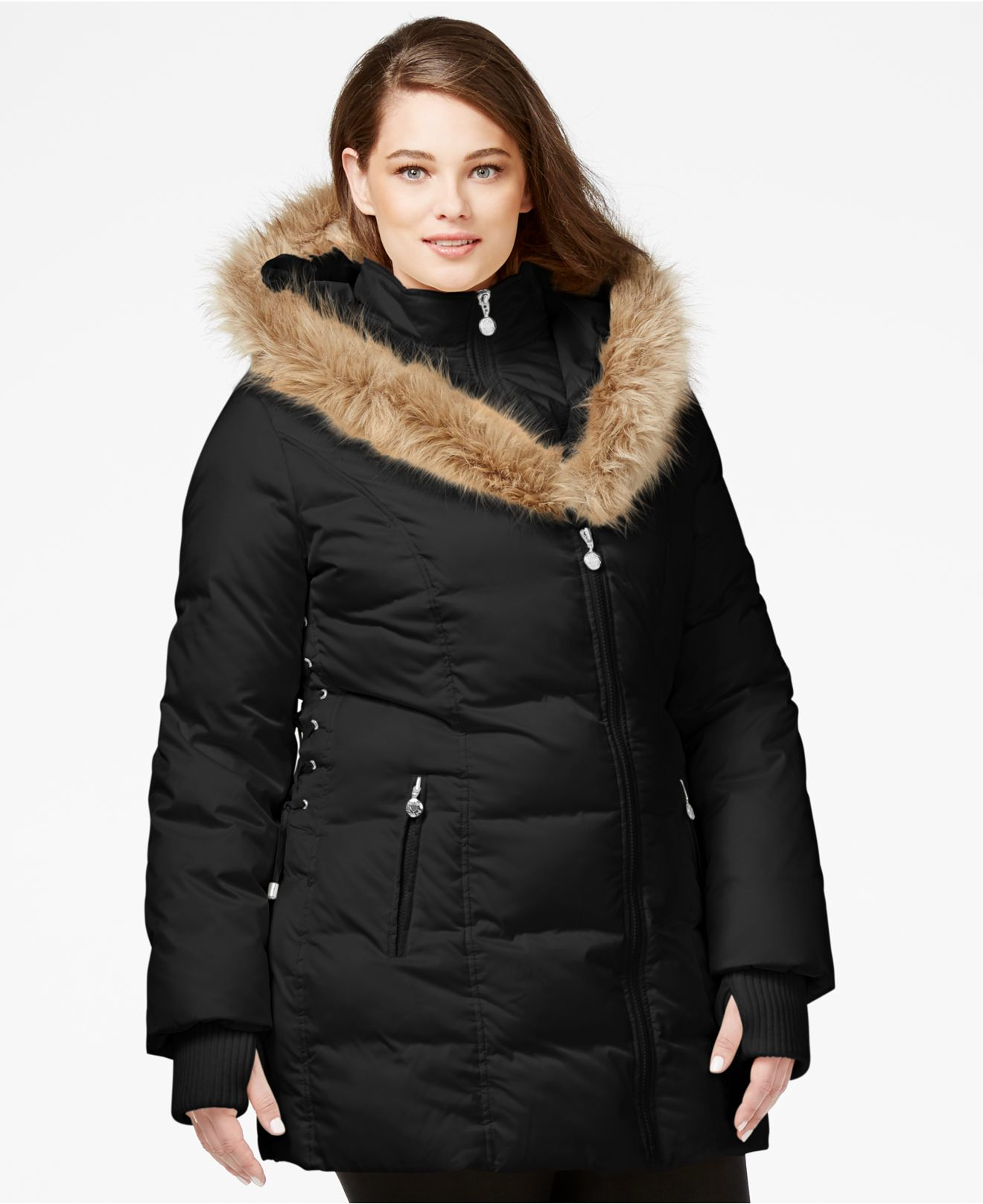 3e5365eea9a Lyst - Betsey Johnson Plus Size Faux-fur-trim Quilted Puffer Coat in ...