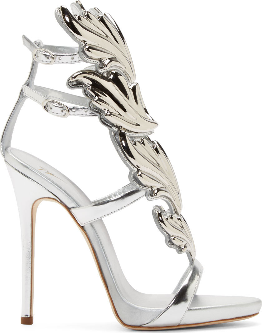 0818ceacf3c1 Lyst - Giuseppe Zanotti Silver Leather Wing Decal Kanye West Edition ...