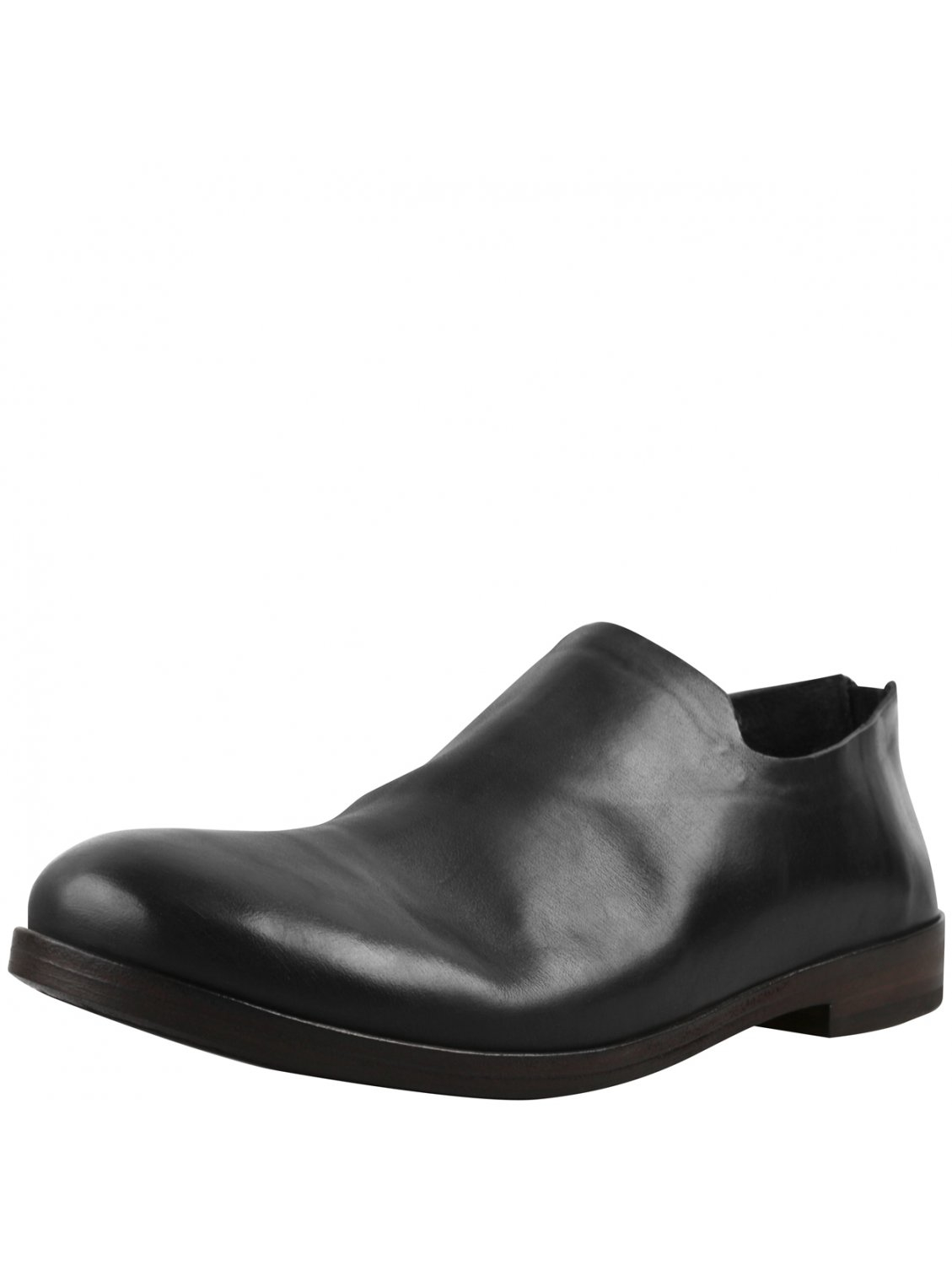 mars 232 ll black leather slouch slip on shoes in black for