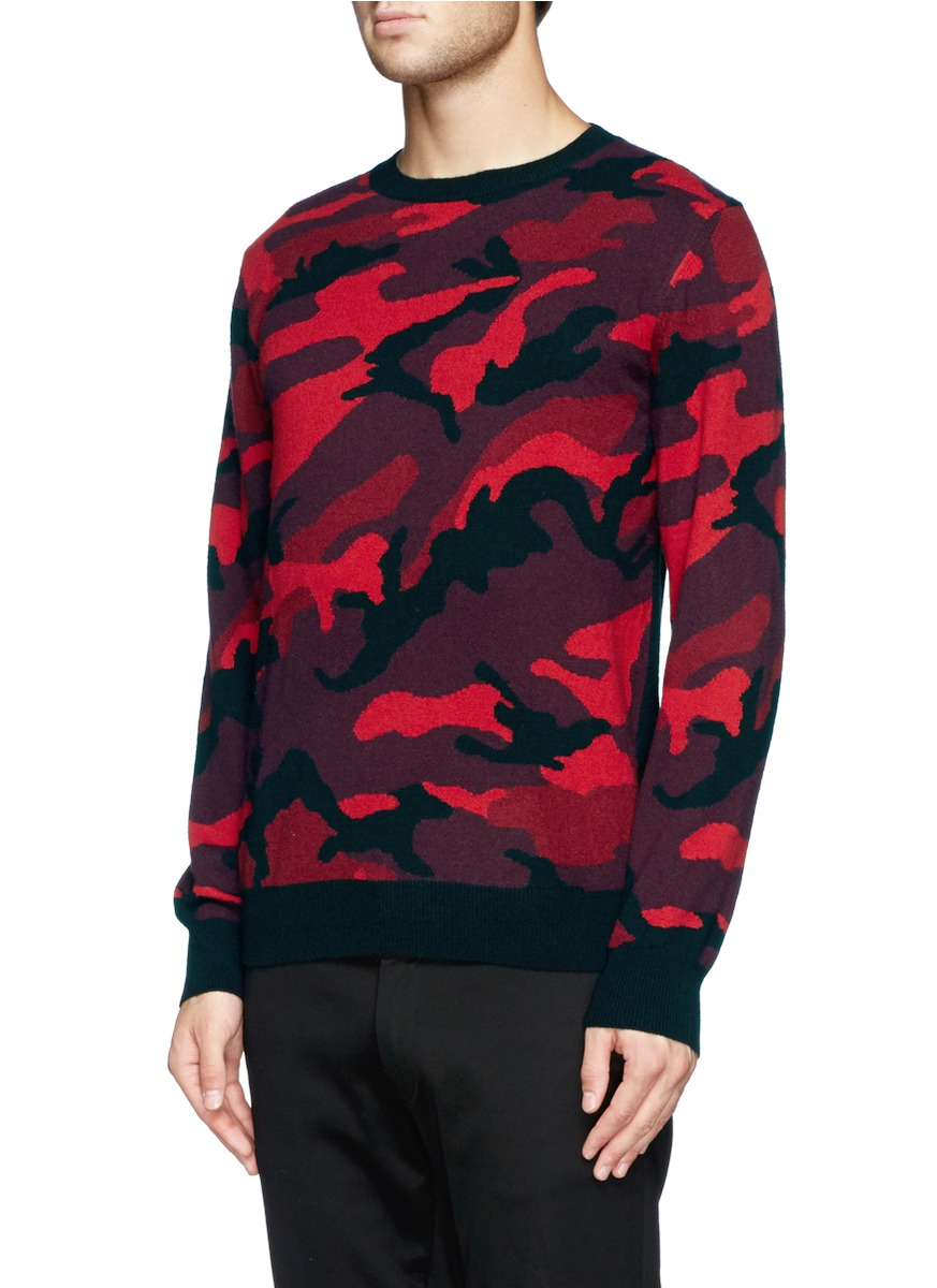 Valentino In Cashmere Sweater Red Lyst Camouflage VqpUSGzM