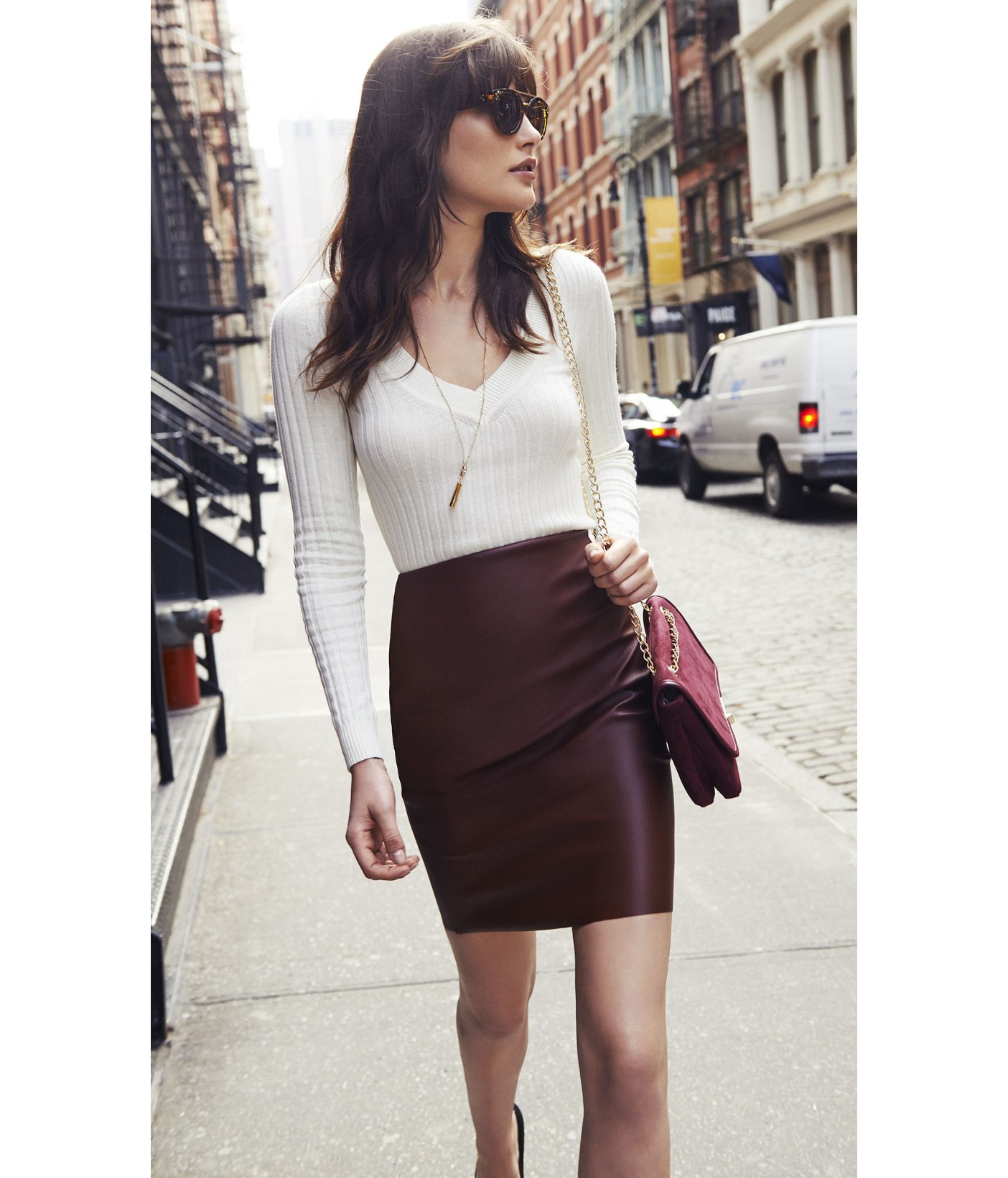 express high waist minus the leather pencil skirt in