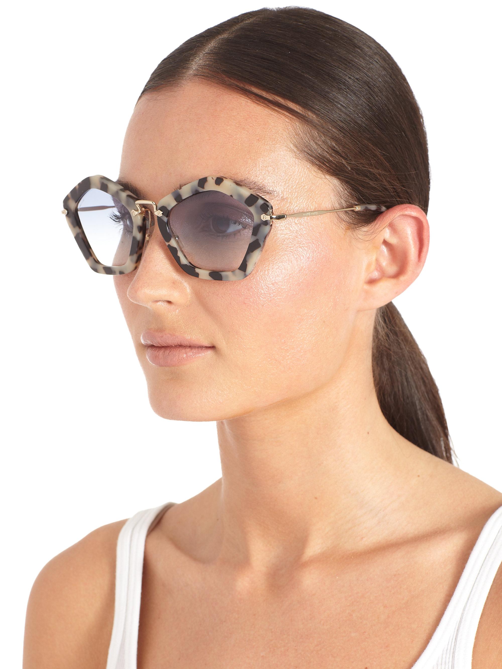 Miu Miu Noir Polygonalshaped Sunglasses In Brown Lyst