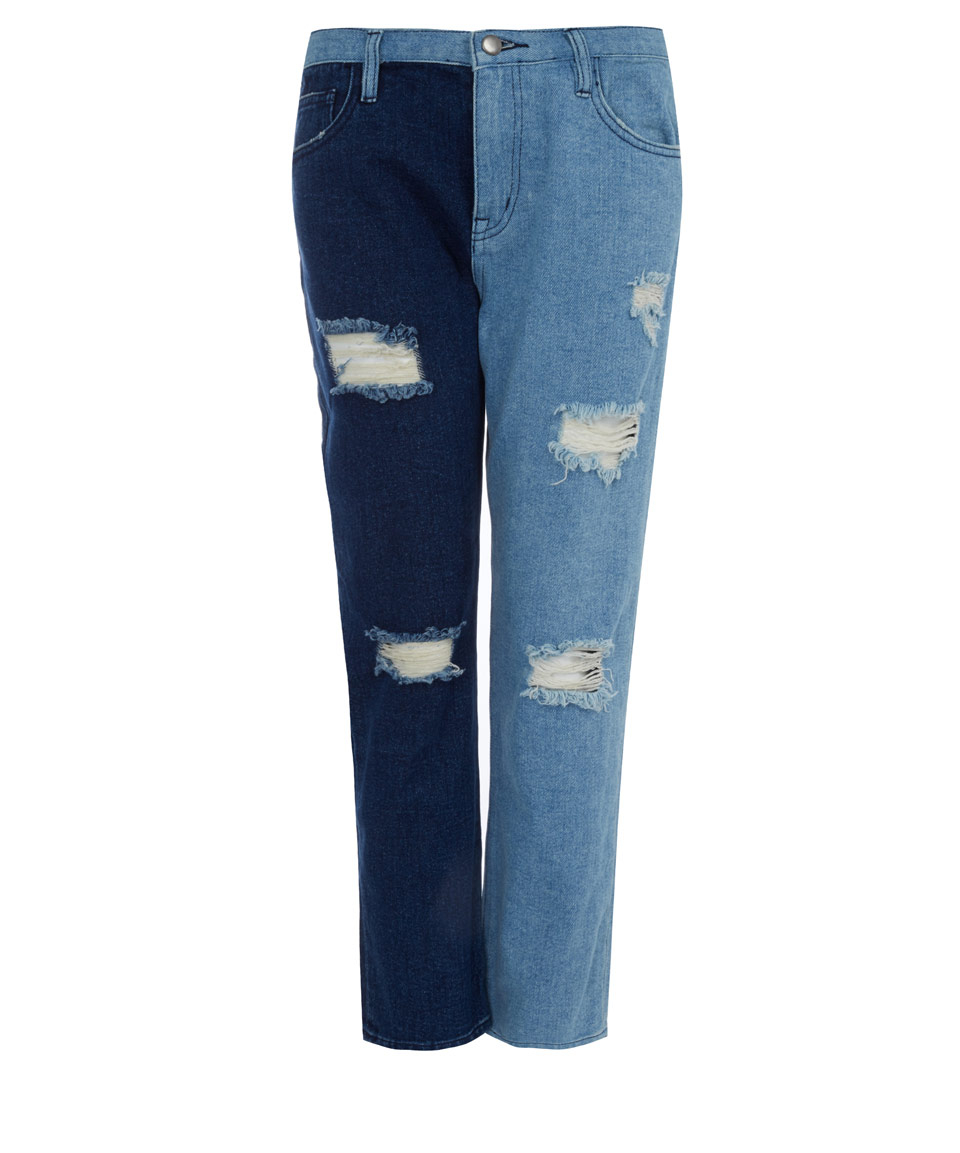 Edit Blue Two-Tone Ripped High-Rise Boyfriend Jeans in Blue | Lyst