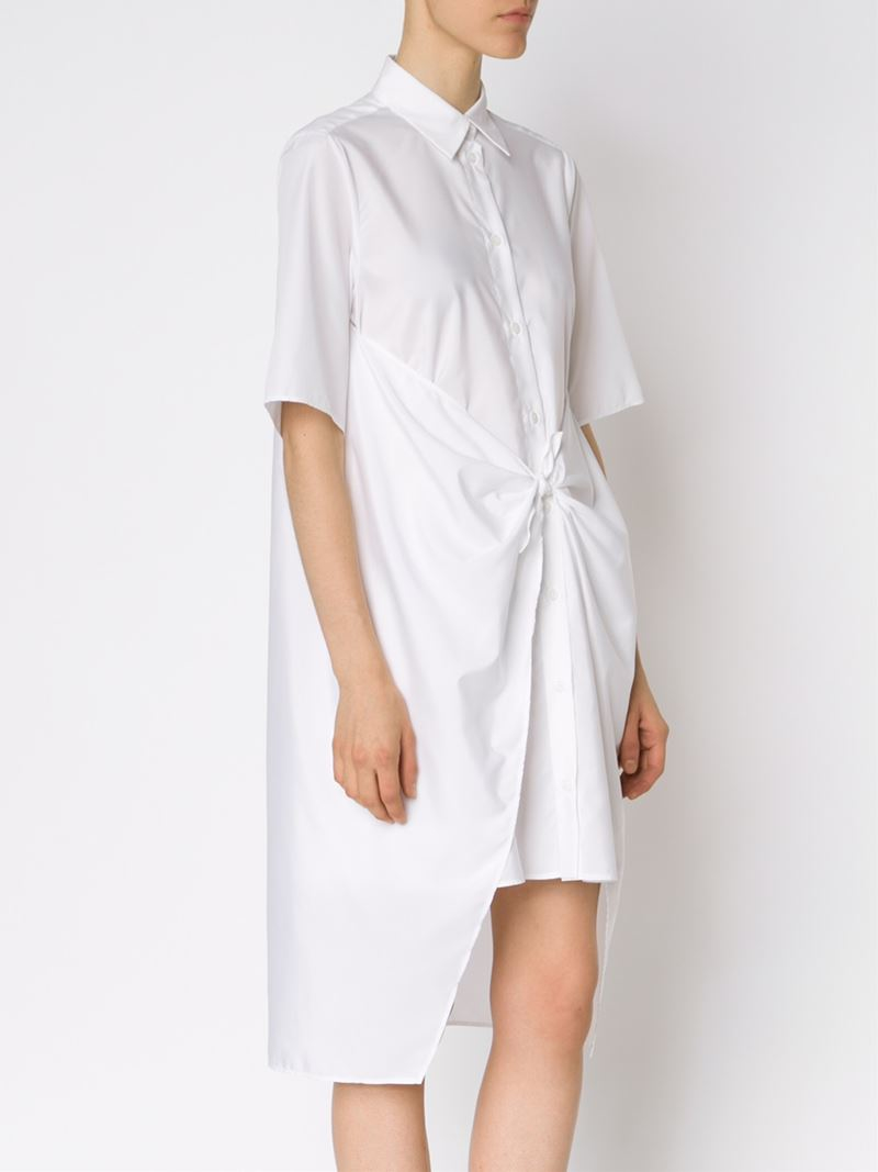 695243002ade7 Lyst - MM6 by Maison Martin Margiela Front Tie Shirt Dress in White