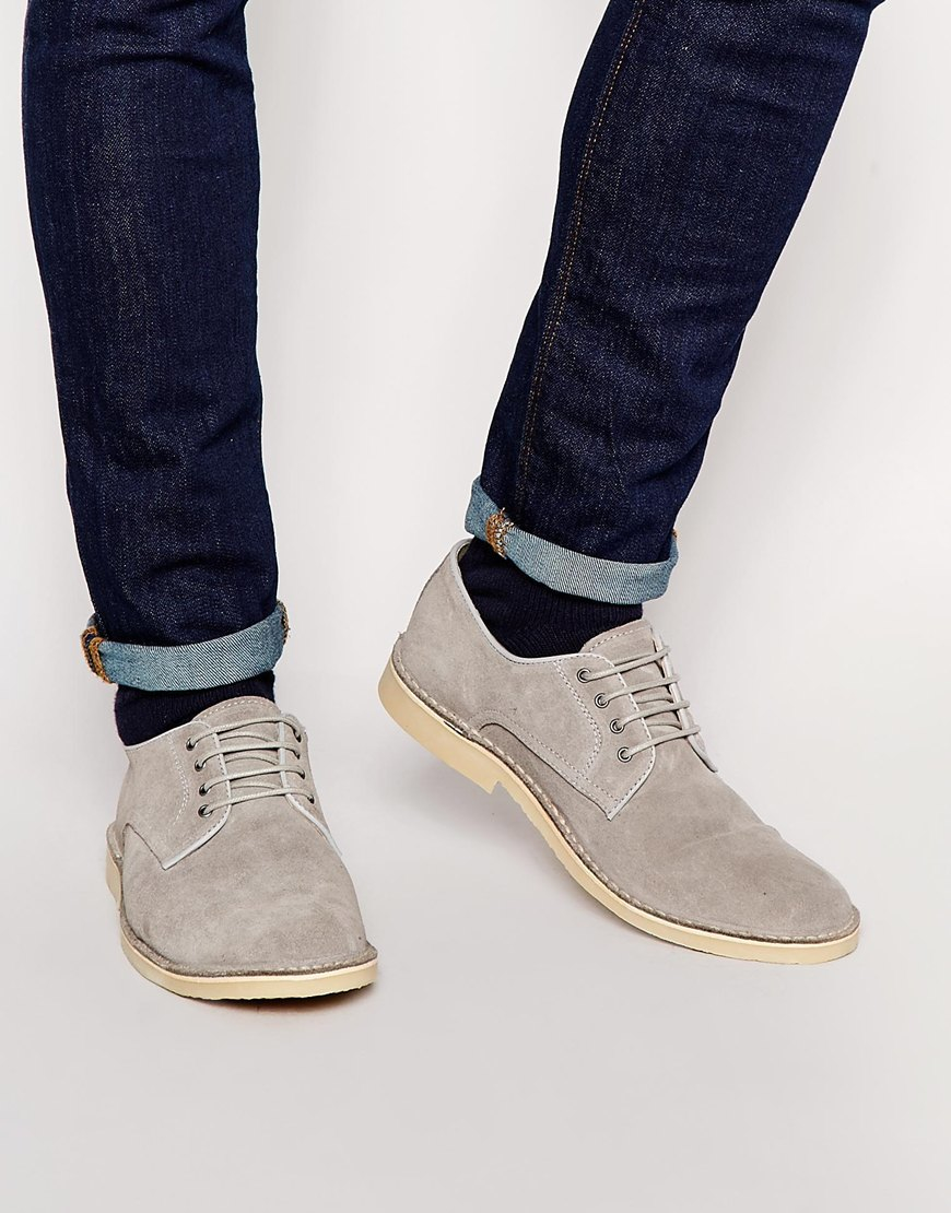 Outlet Wiki Sale Cheapest Price Lace Up Derby Shoes In Grey Suede With Hybrid Sole - Grey Asos Clearance Big Sale Buy Online New Outlet New Styles 7dukDt