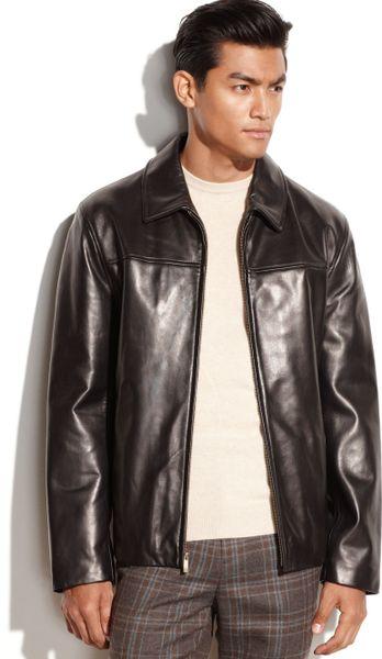 042da012c2 Cole Haan Leather Zip Front Moto Jacket in Black for Men - Lyst