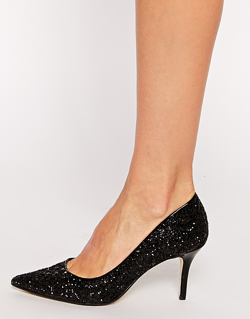 Dune Black Glitter Shoes