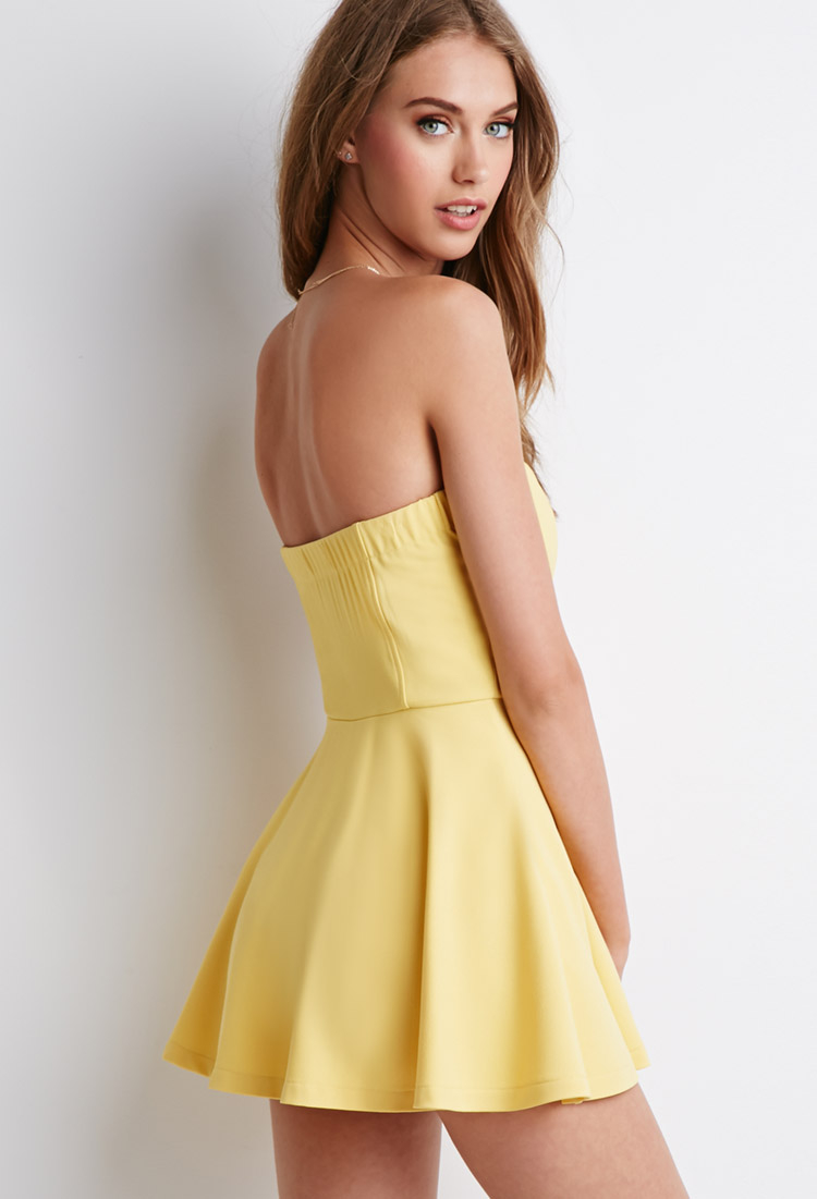 f8605a966275 Lyst - Forever 21 Strapless Skort Romper in Yellow