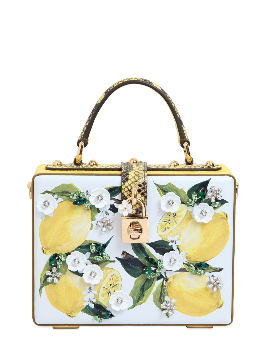 Lyst - Dolce   Gabbana Lemon Printed Leather Dolce Bag in Yellow fd507b85333a6