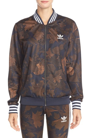 7e2221696fec Lyst - adidas Originals Leaf Camouflage Print Bomber Jacket in Brown