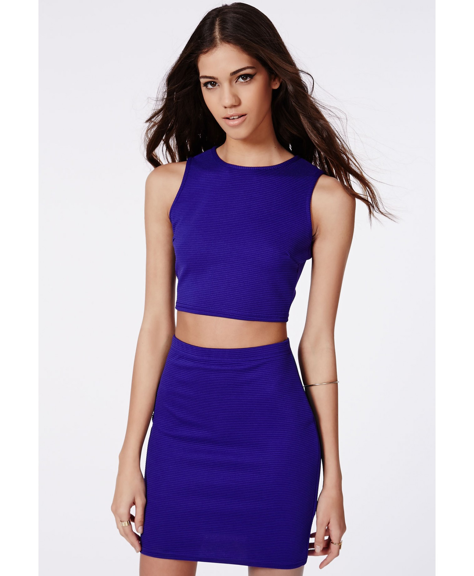 Missguided Polly Ribbed Two Piece Bodycon Dress Cobalt Blue in ...