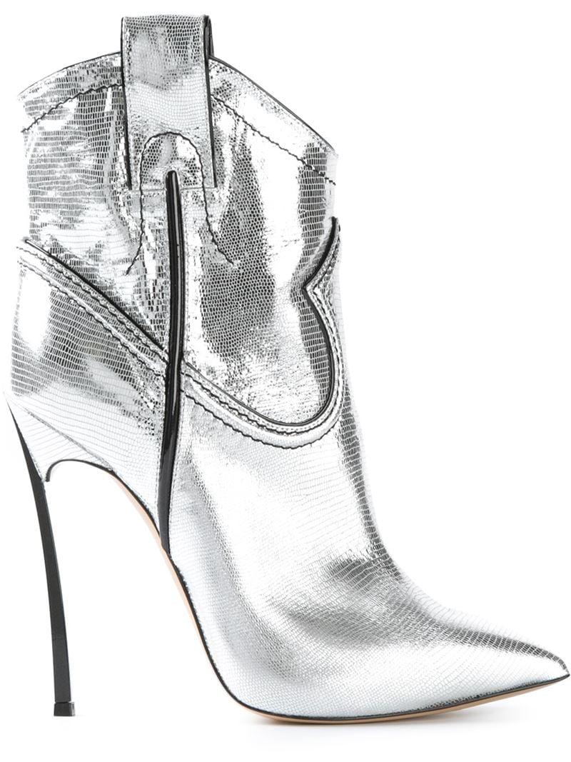 metallic heel boots - Black Casadei r6aWKqWvtG