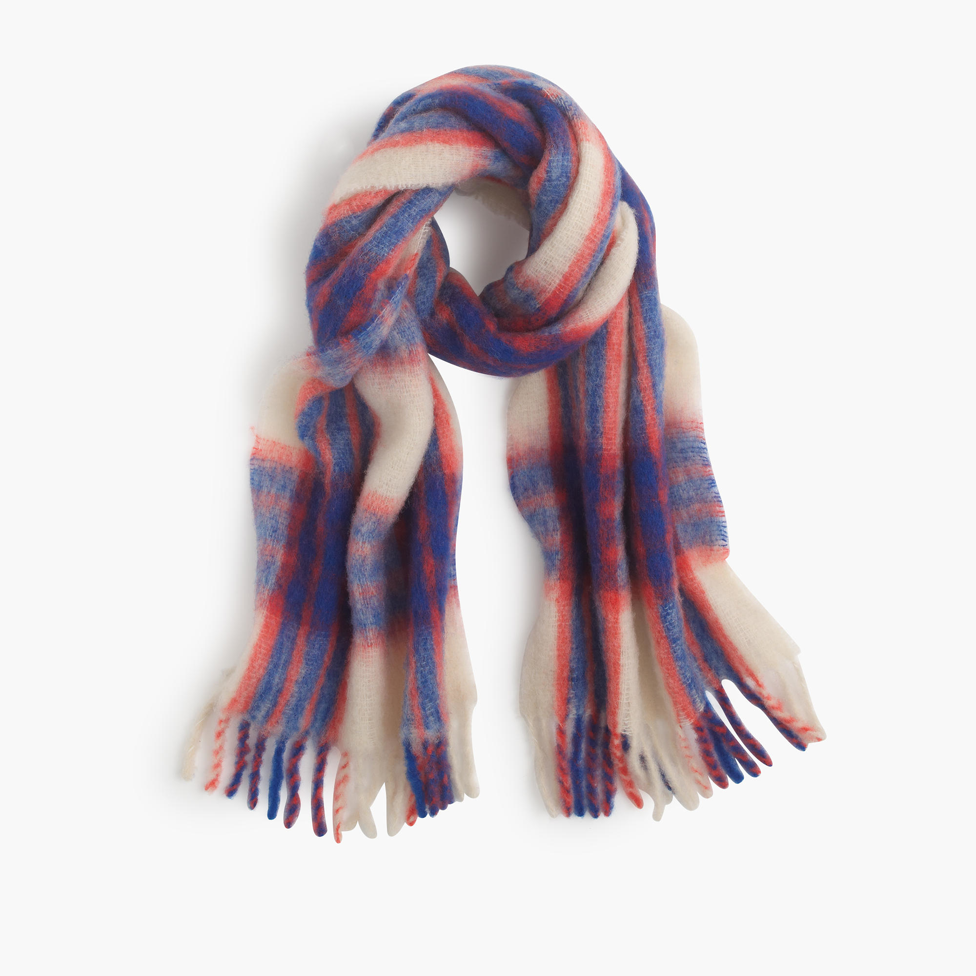 j crew brushed italian wool scarf in vibrant plaid in blue