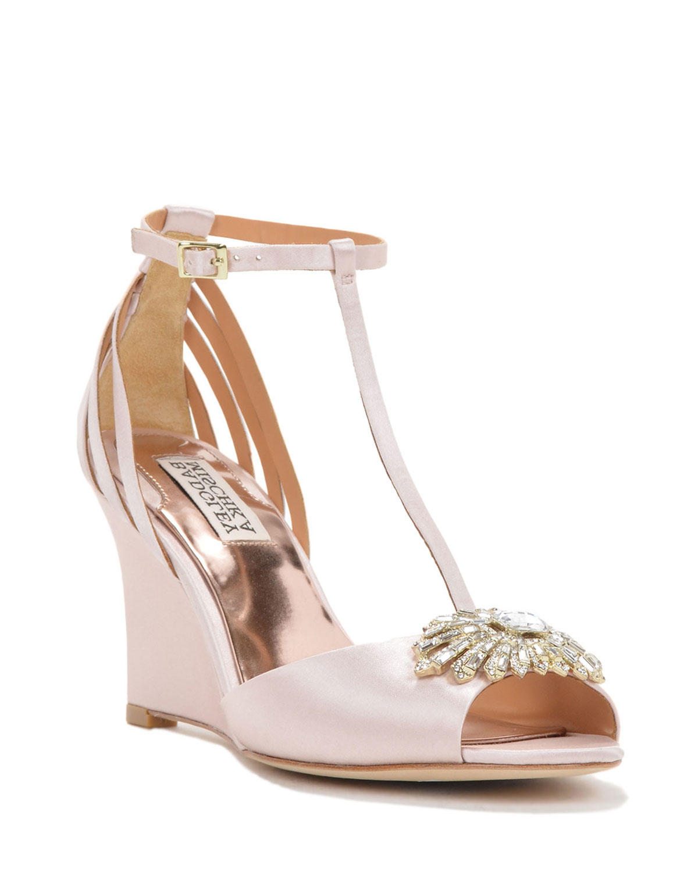 badgley mischka milly t wedge evening shoe in pink