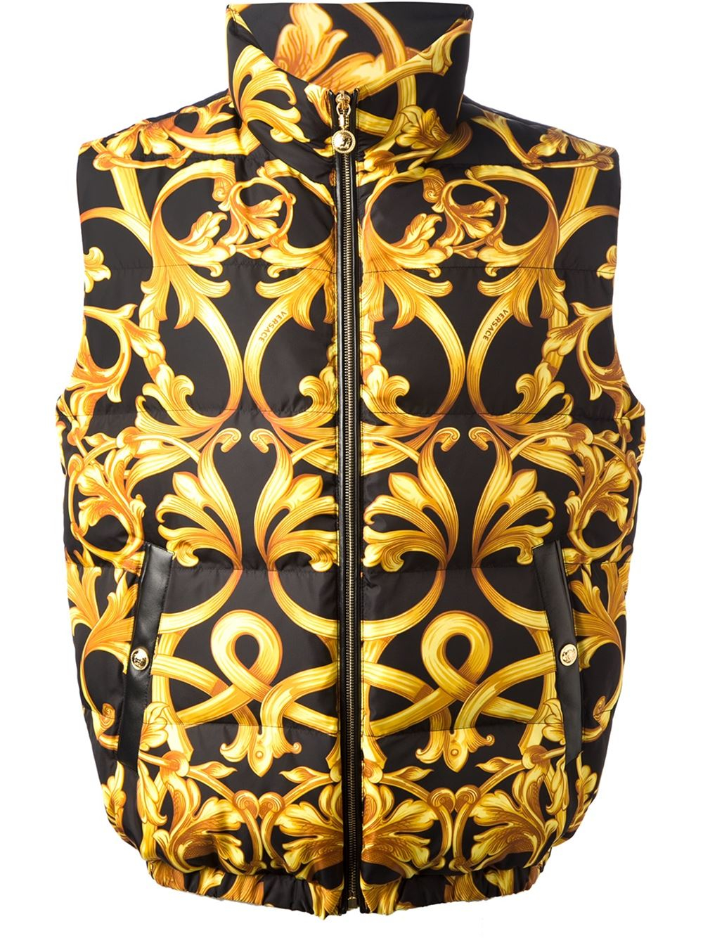 Versace Baroque Print Padded Gilet In Yellow For Men
