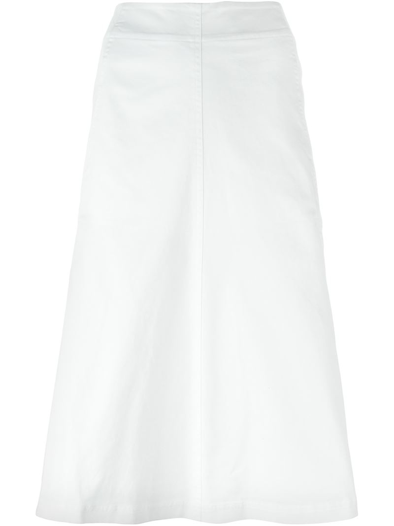 t by wang a line midi skirt in white lyst