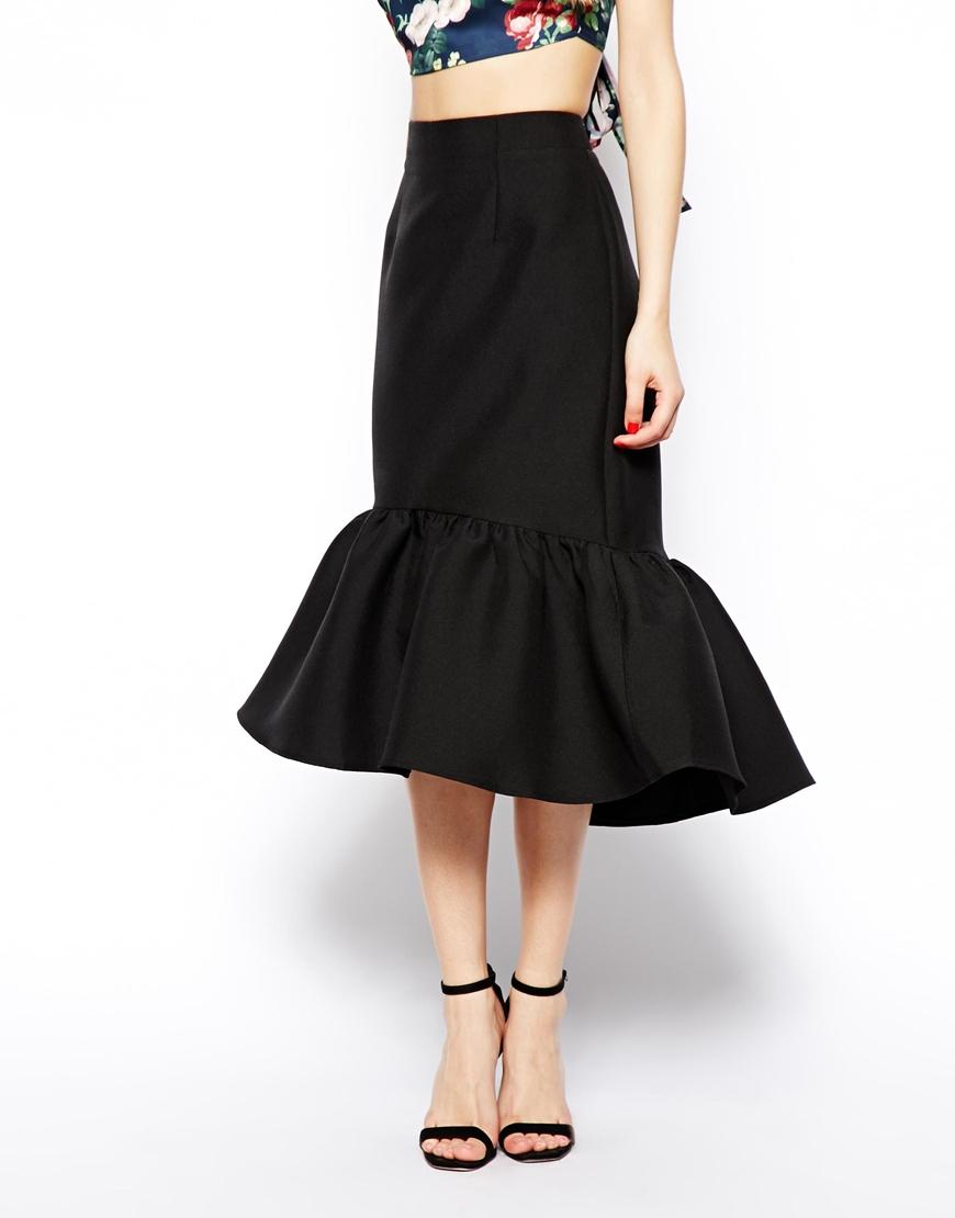 asos peplum hem pencil skirt in texture in black lyst