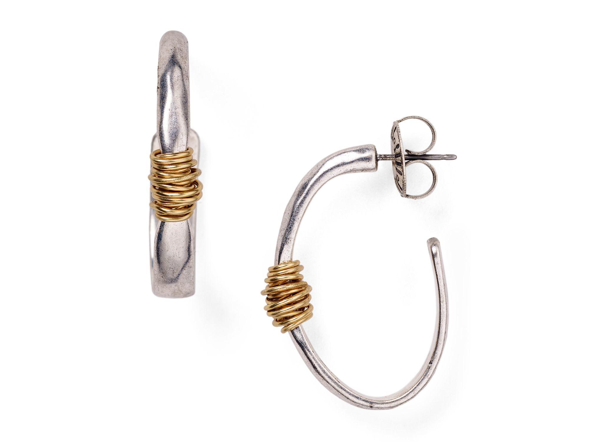 Lyst - Robert Lee Morris Two Tone Wire-wrapped Hoop Earrings in Metallic