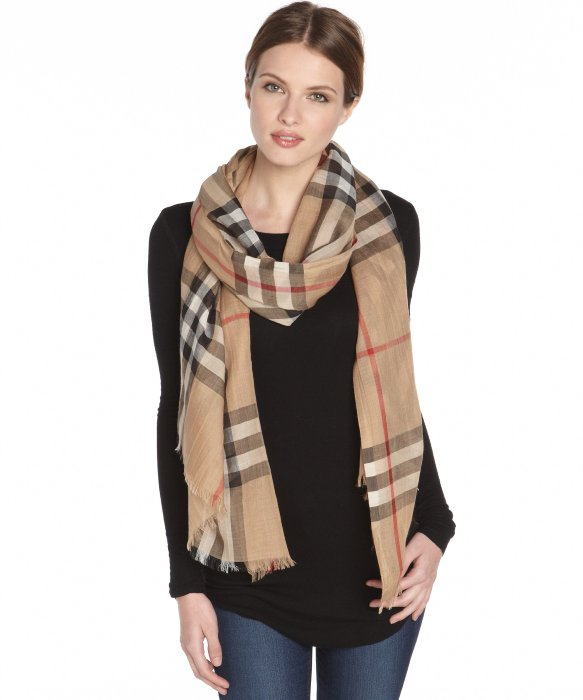 Lyst Burberry Camel Check Wool Silk Gauze Neck Scarf In