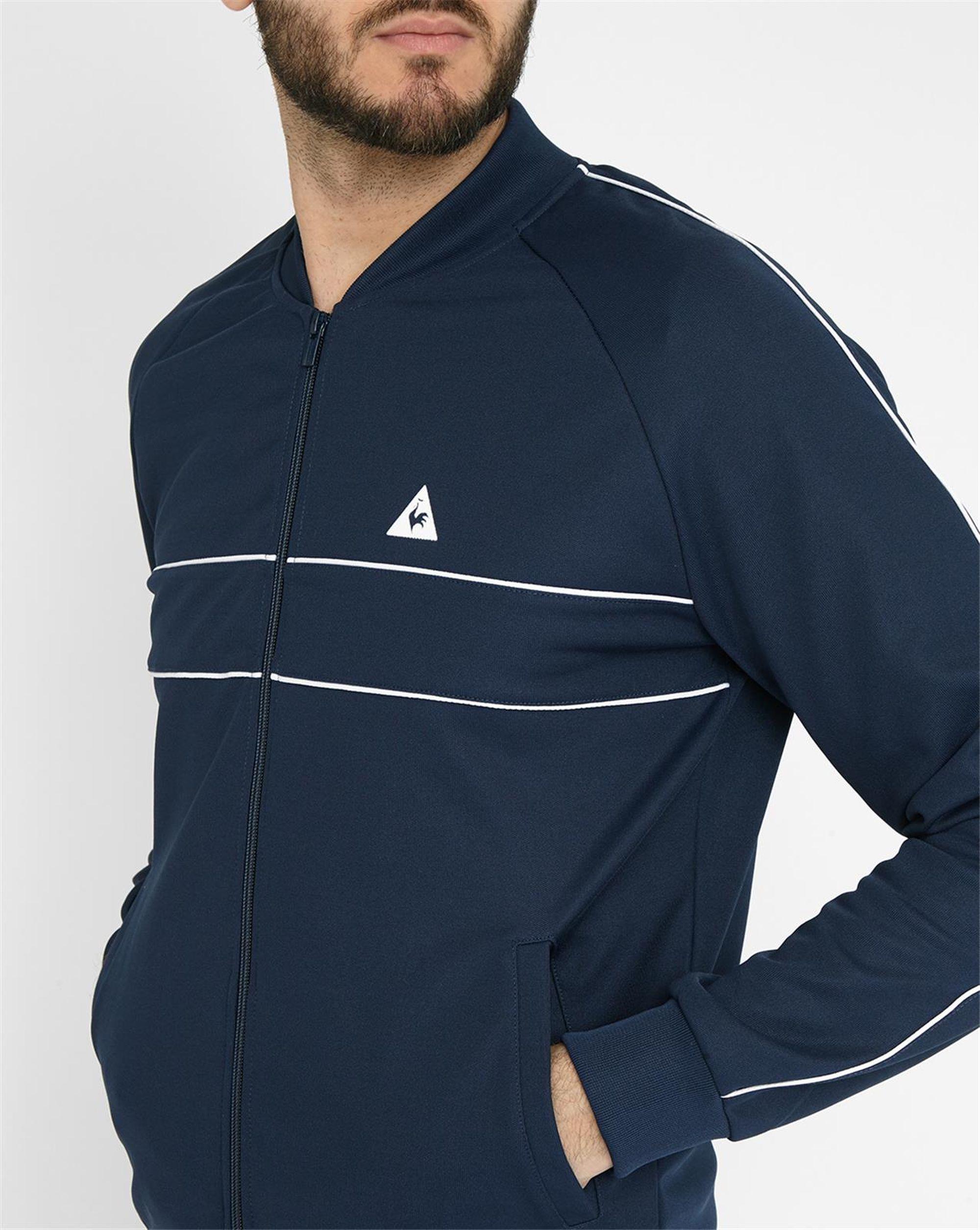 le coq sportif navy track jacket in black for men lyst. Black Bedroom Furniture Sets. Home Design Ideas