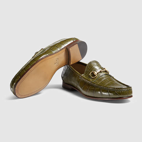 16141f6d0a4 Lyst - Gucci 1953 Horsebit Crocodile Loafer in Green for Men