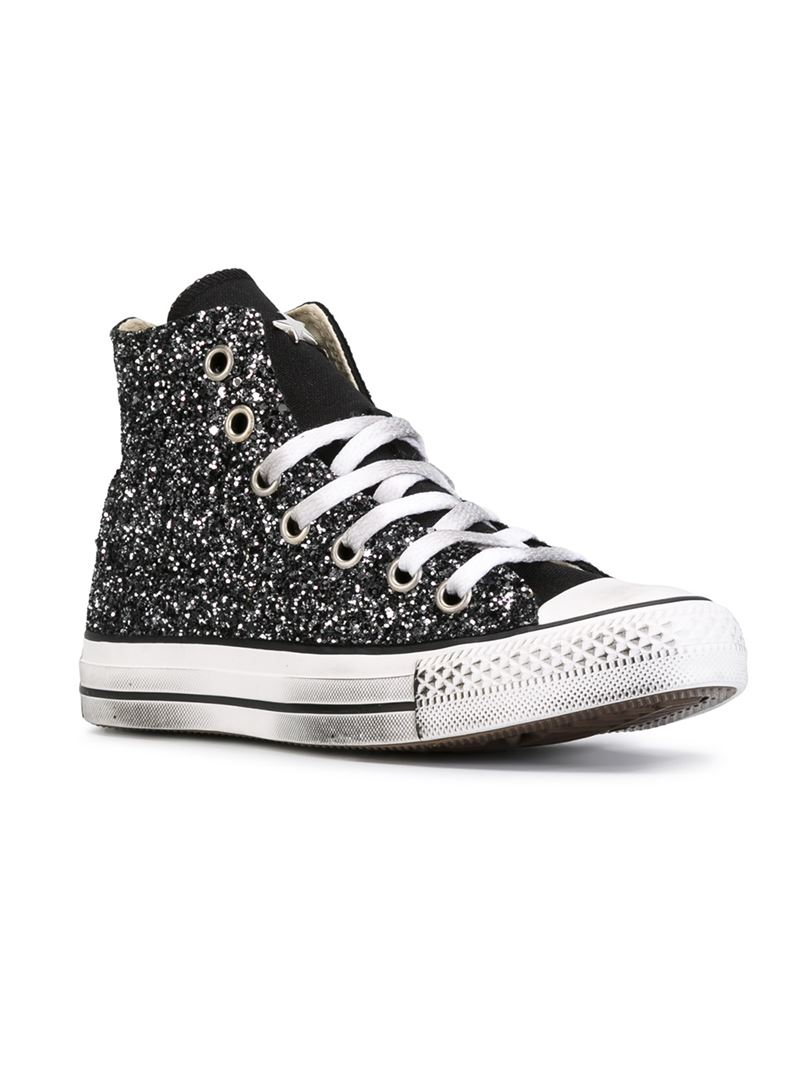 lyst converse 39 all star 39 glitter hi top sneakers in black for men. Black Bedroom Furniture Sets. Home Design Ideas