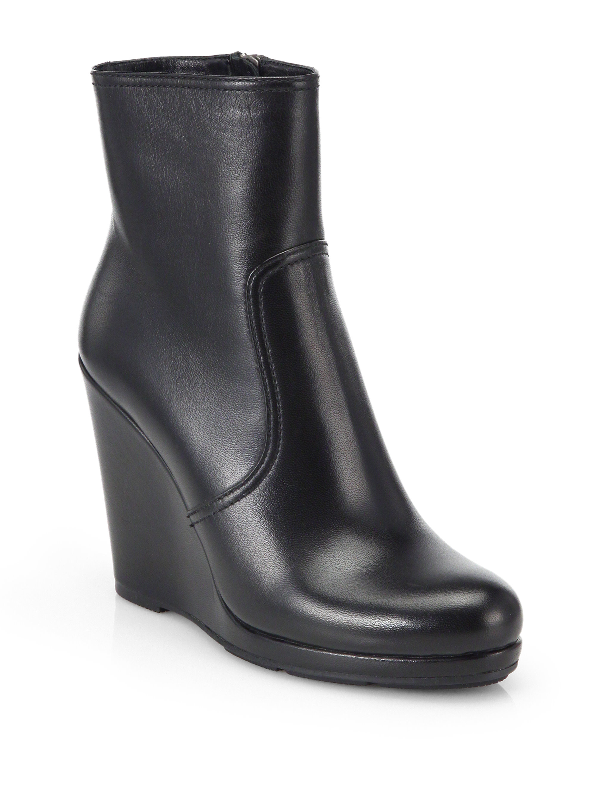 258f134caeda Lyst - Prada Leather Wedge Ankle Boots in Black