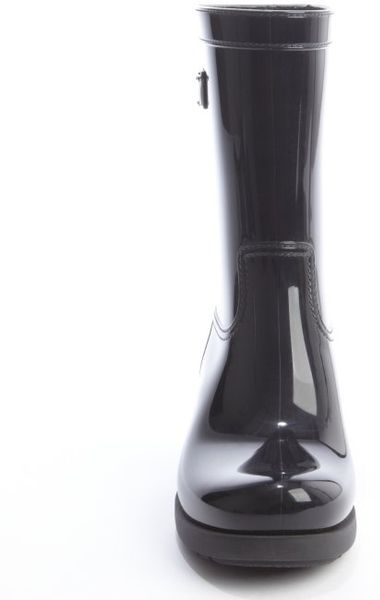 Prada Black Faux Patent Leather Logo Plaque Rain Boots In