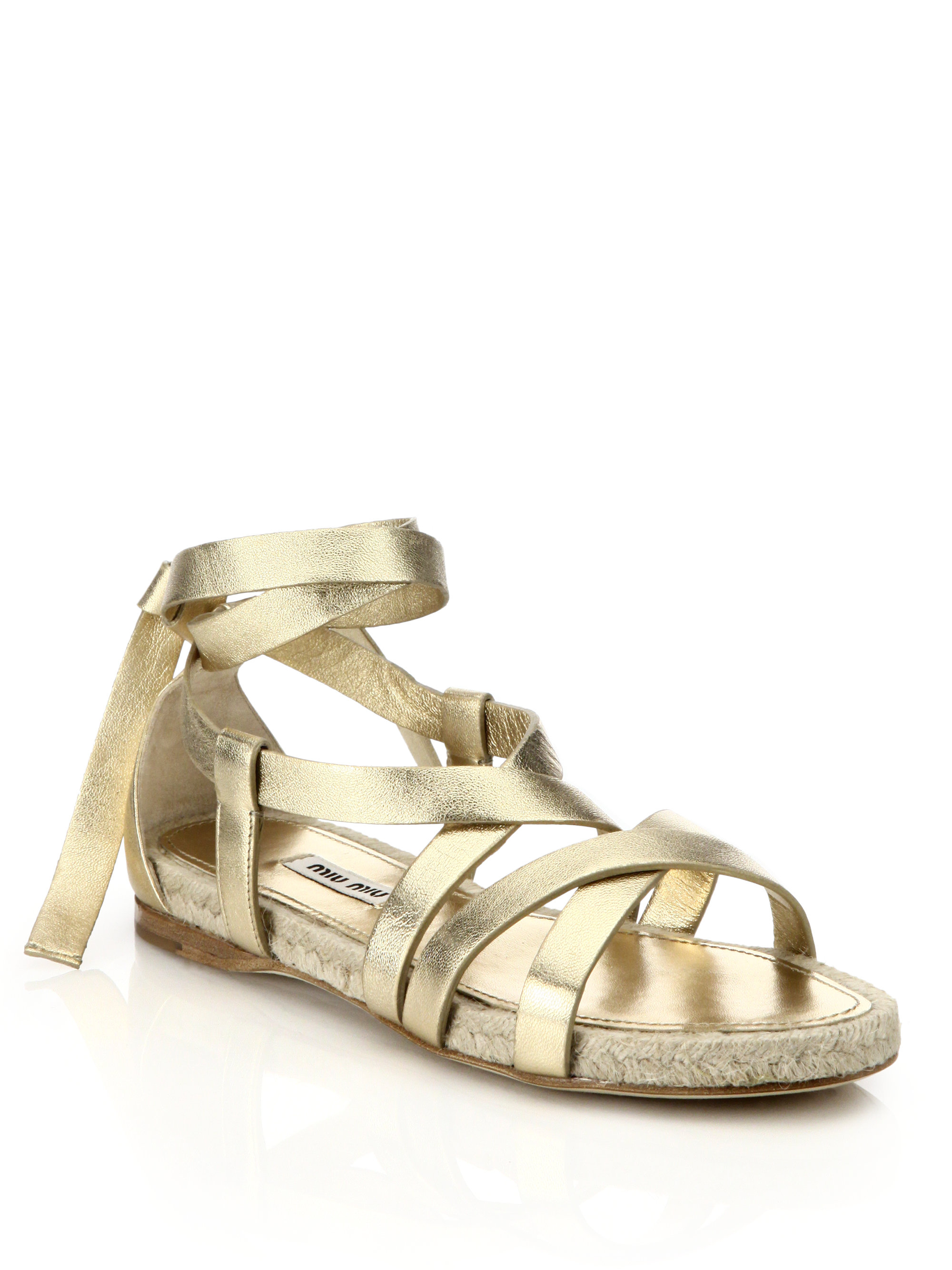 e0222223e Lyst - Miu Miu Metallic Leather Ankle-tie Espadrille Sandals in Metallic