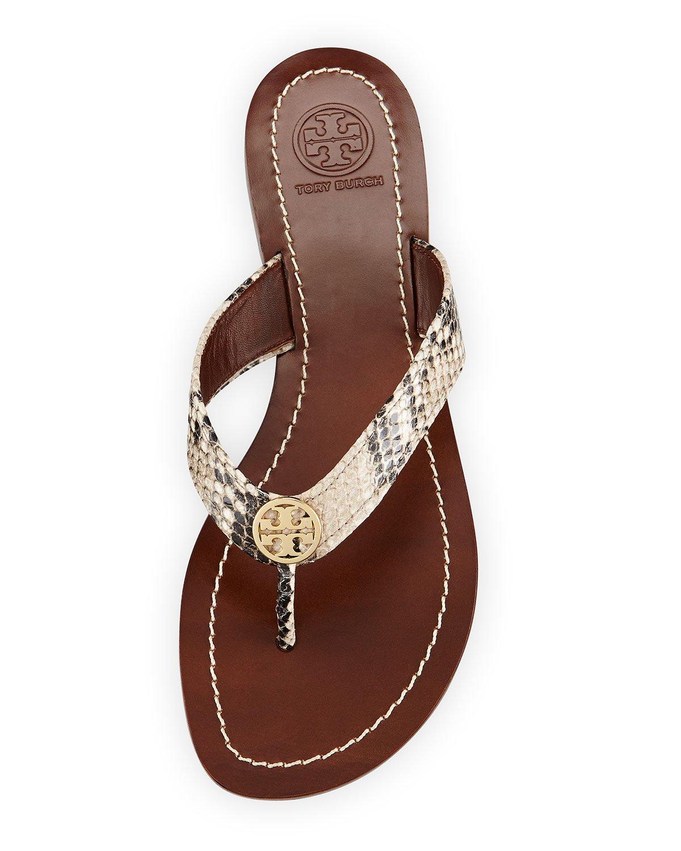 63562b1e61be8 Lyst - Tory Burch Thora Snake-Print Sandals in Metallic